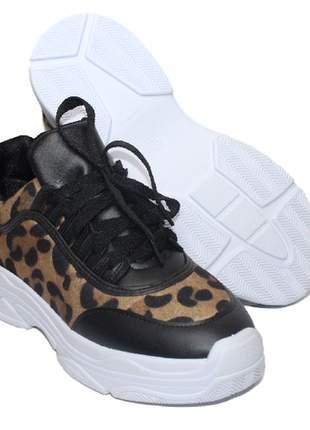 Tenis feminino preto chunky animal print trends