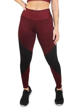 Calça legging marsala detalhe preto moda fitness academia
