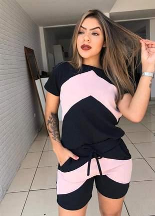 Conjunto feminino short e blusa listrado ref 672