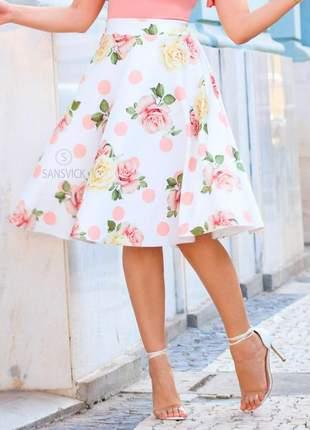 Saia midi godê princesa estampa digital rosas