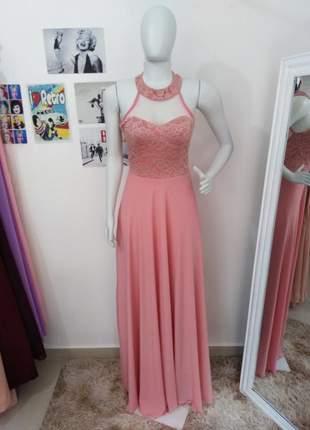 Vestido longo festa rosa plus madrinha formanda elegance