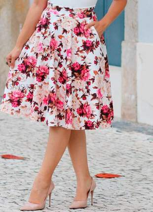 Saia princesa godê flores moda primavera verão 2019