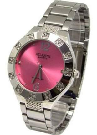 Relógio atlantis feminino g3451 fundo rosa