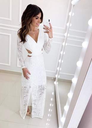 Vestido longo branco off white
