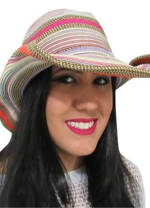 Chapéu de praia feminino country colorido