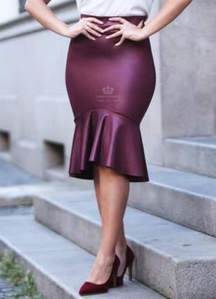Saia sereia midi brilho couro fake púrpura