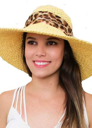 Chapéu de praia feminino bege com faixa onça marrom
