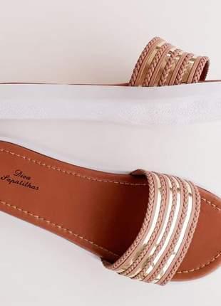 Sandália chinelo slide rasteira feminina listras rose dourado
