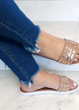 Sandália chinelo slide feminina listras rose dourado