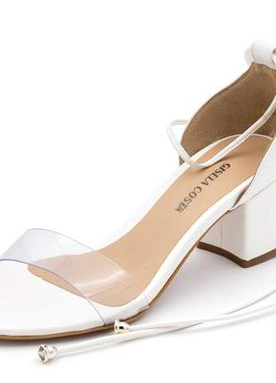 Sandália social branca tira transparente salto baixo amarrar na perna