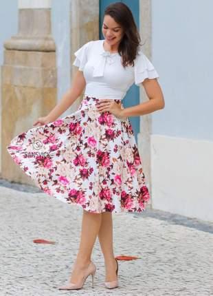 Conjunto estampado digital flores saia midi + blusinha branca