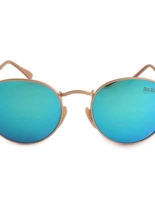 Oculos de sol feminino redondo azul espelhado