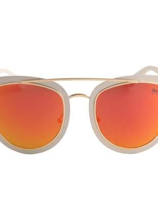 Oculos de sol feminino branco com vermelho