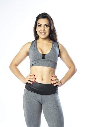 Top cropped fitness cinza mescla