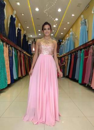 Vestido rosê luxo com dourado longo forro bojo madrinha mãe de noivos
