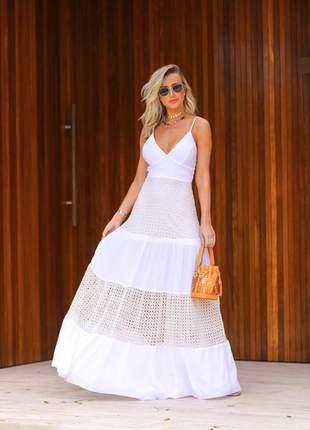 Vestido longo branco renda absolut