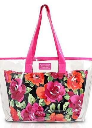 Bolsa de praia transparente rosa com organizador floral preto
