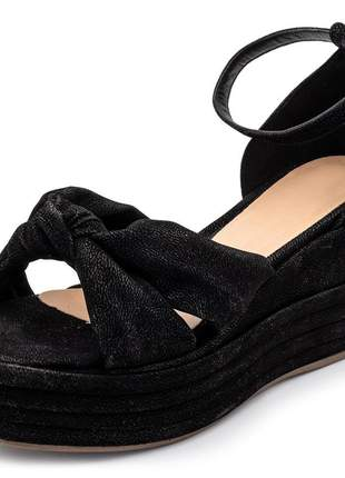 Sandália anabela feminina nó salto medio preta