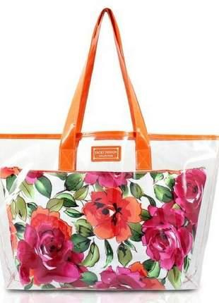 Bolsa de praia transparente laranja com organizador floral branco