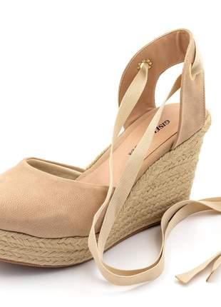 Sandália anabela nude salto medio 10 cm amarrar na perna