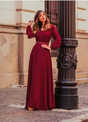 Vestido longo fascinius rodado roupas evangélicas
