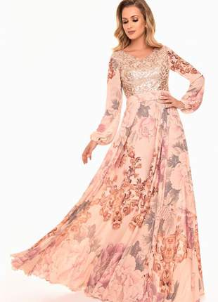 Vestido longo fasciniu's fascinius bordado evangelico