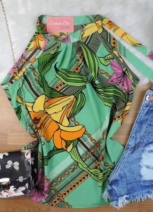 Blusa regata floral amarração gola verde bs339