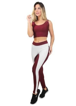 Conjunto fitness legging cropped marsala branco academia