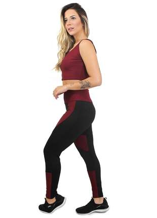 Conjunto fitness legging cropped definition marsala academia