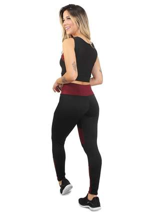 Conjunto fitness legging cropped max preto marsala academia