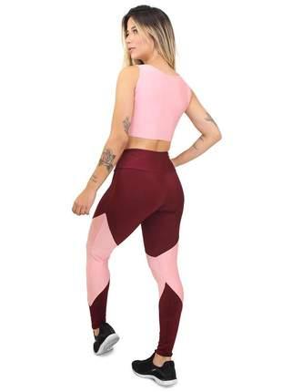 Conjunto fitness legging cropped max rosê marsala academia