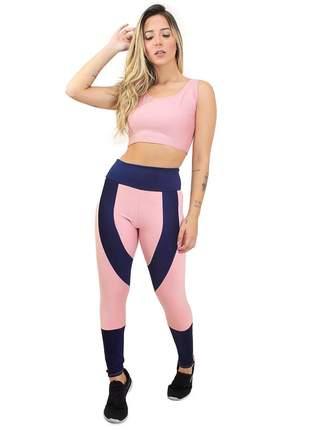 Conjunto fitness legging cropped rosê azul marinho academia