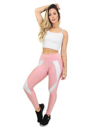 Conjunto fitness legging cropped fit marsala branco academia