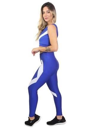 Conjunto fitness legging cropped azul e branco academia
