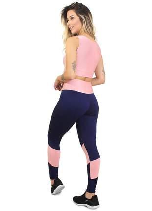 Conjunto fitness legging cropped fit marinho e rosê academia