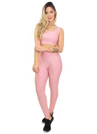 Conjunto fitness legging cropped basic rosê academia