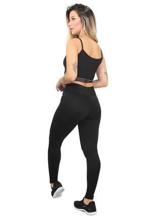 Conjunto fitness legging cropped preto max fit academia