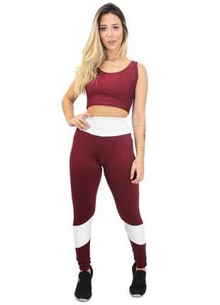 Conjunto fitness legging cropped branco e marsala academia