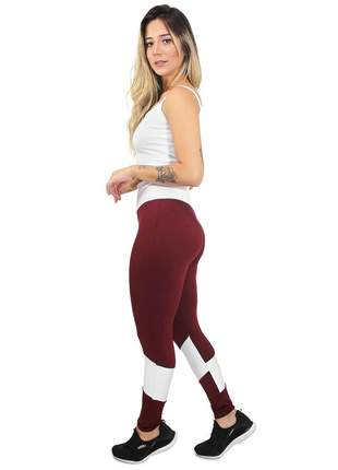 Calça fitness cropped marsala power white conjunto academia