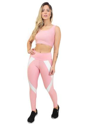 Calça fitness cropped lady pink white conjunto academia