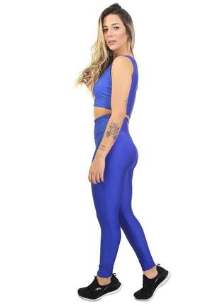 Calça fitness cropped basic azul royal conjunto academia