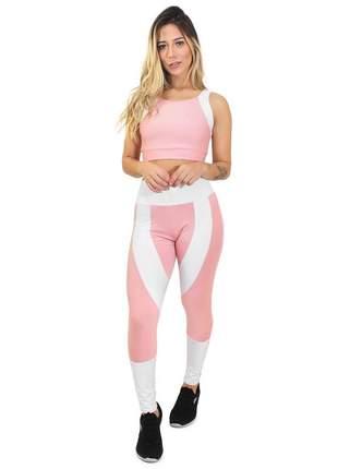 Calça fitness cropped candy branco rosê conjunto academia