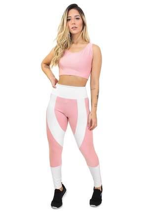 Calça fitness cropped rosê com branco conjunto academia