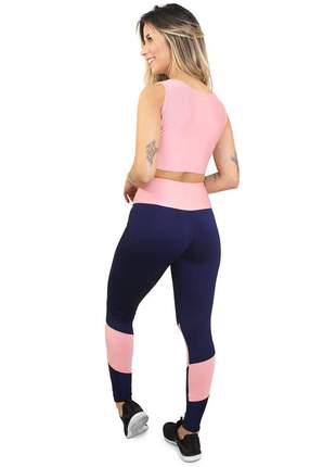 Calça fitness cropped fit rose azul conjunto academia