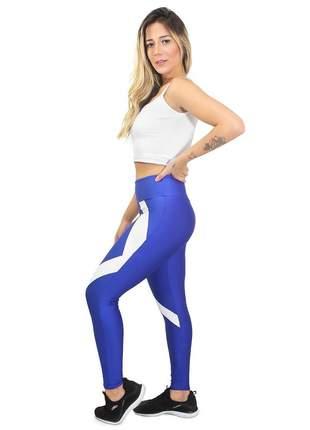 Calça fitness cropped candy branco azul conjunto academia