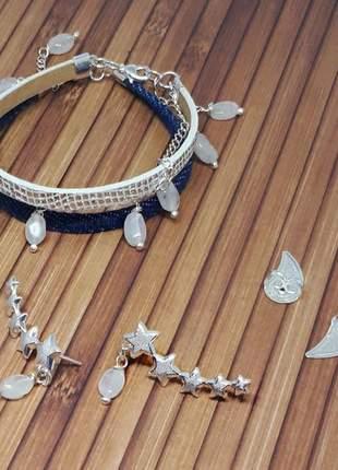 Brincos e pulseiras com cristais de pedra da lua
