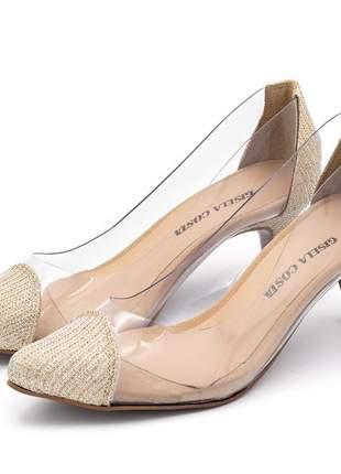 Sapato scarpin material transparente com dourado salto fino baixo