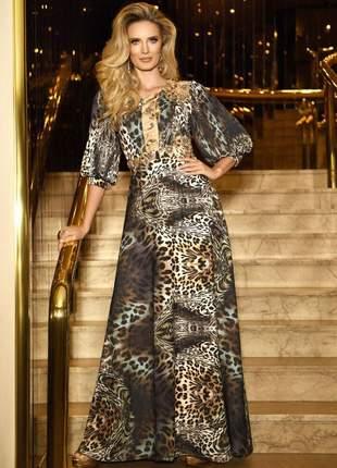 Vestido fascinius animal print longo moda evangélica