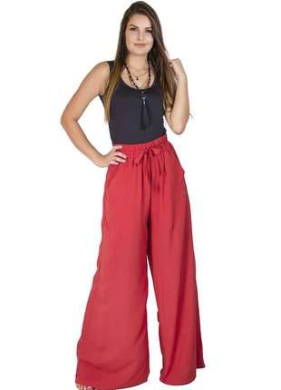 Calça dress code moda pantalona vermelha