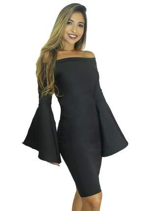 Vestido festa midi tubinho feminino manga longa flare